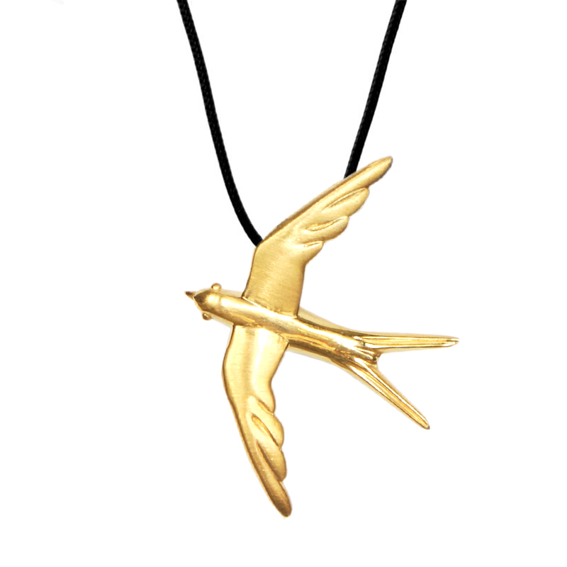 Swallow Pendant Gold Plated Silver - size L