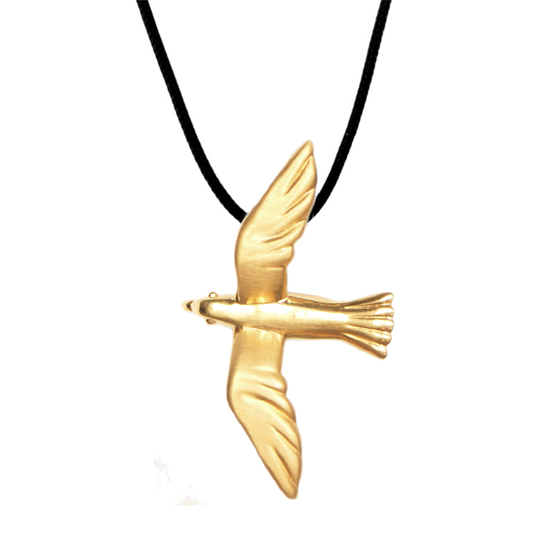 Seagull Pendant Gold Plated Silver - size L
