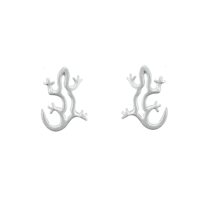 Lizard Earrings Silver
