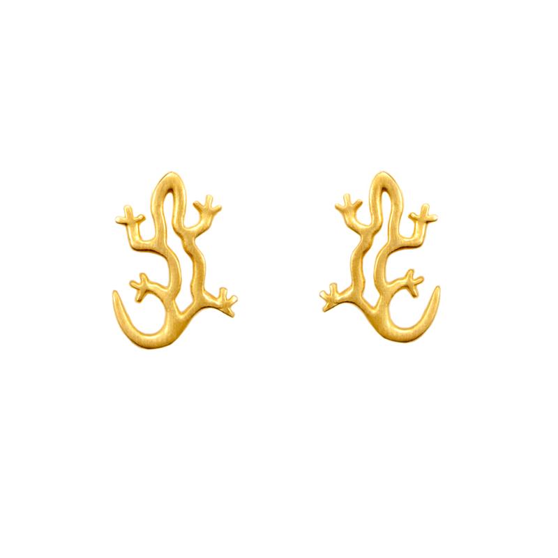 Lizards Earrings Gold Plated Silver