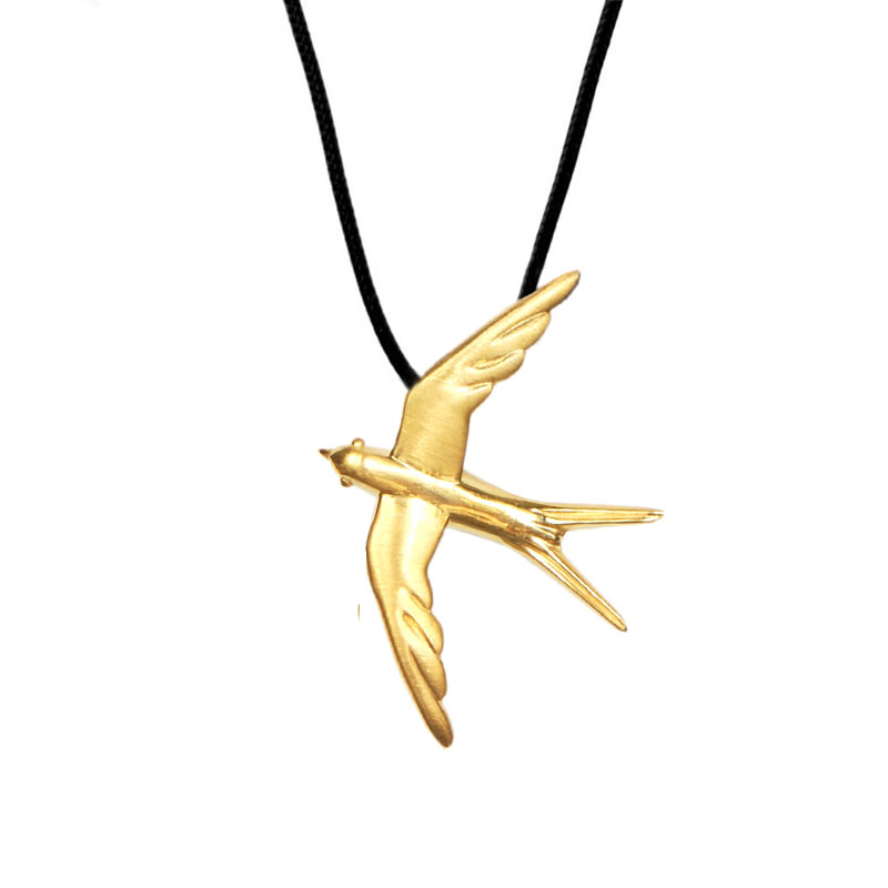 Swallow Pendant Gold Plated Silver - size S