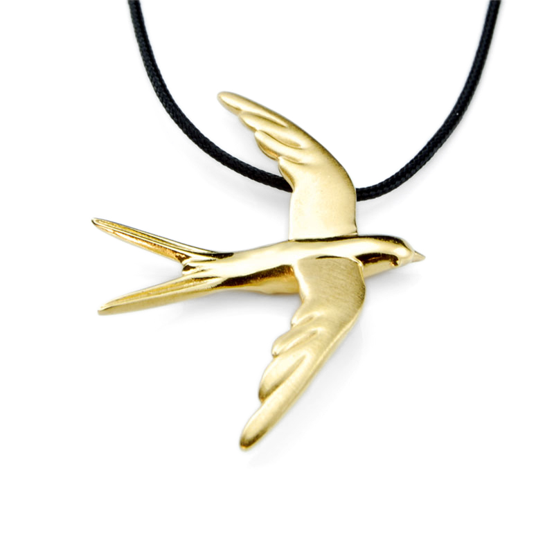 Swallow pendant gold plated silver size s spiky leaves swallow pendant gold plated silver size s mozeypictures Gallery