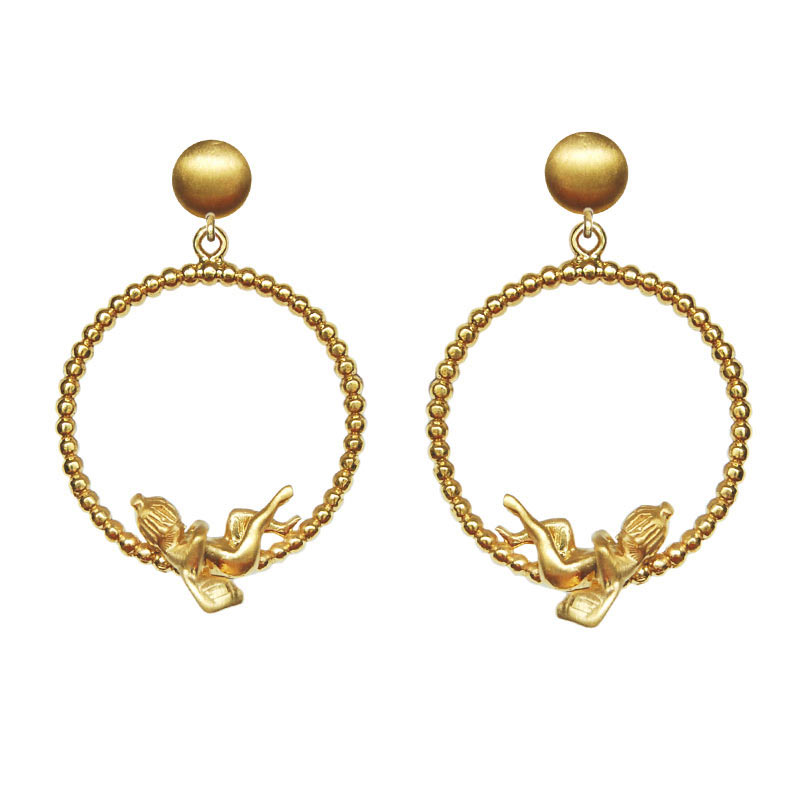 Cupid Dangle Earrings 18K Gold