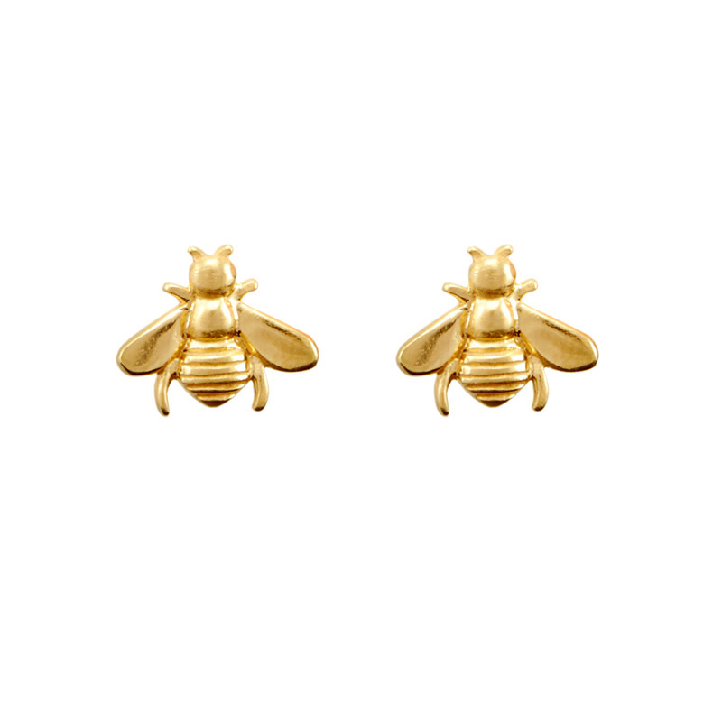 Bee Stud Earrings 18K Gold